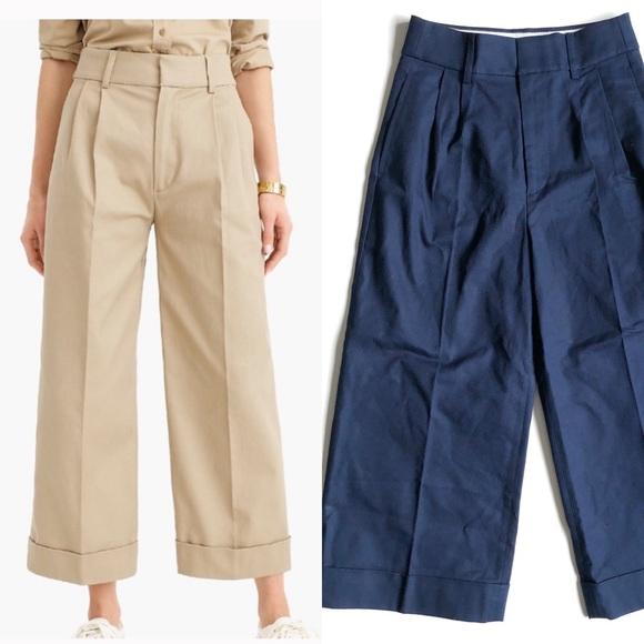 J. Crew Pants - J. Crew Navy Wide Leg Cropped Pant Stretch Twill 4